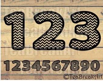 Chevron numbers Cutting Files SVG PNG EPS dxf design ClipArt Instant Download iron on heat transfer shirt decal 585C