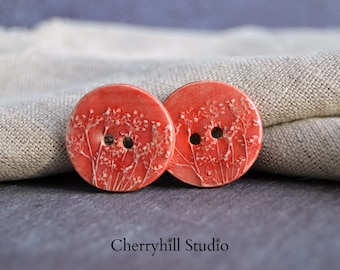 Coriander Button, Red Ceramic Buttons, Large Ceramic Button, Sew on Buttons, Ceramic Buttons, Embellishments, Buttons, Haberdashery
