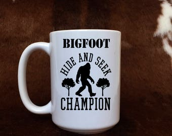 Bigfoot mug, monster coffee mug, Hide and Seek, Champion, gift for him, gift item,