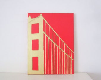 GOLDEN GATE Bridge - San Francisco Landmark Painting - Golden Gate Bridge Art - Golden Gate Bridge Print - Golden Gate Decoration