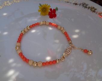 Coral bracelet, salmon in 585 gold filled, elegant design