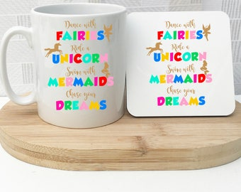 Rainbow Dreams Cup and Coaster Set, Personalised Cup, Unicorn Cup, Fairy Cup, Mermaid Cup, Rainbow Gift, Personalised Rainbow Gift, UK
