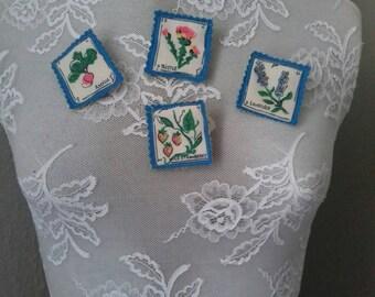 lavender textile brooch