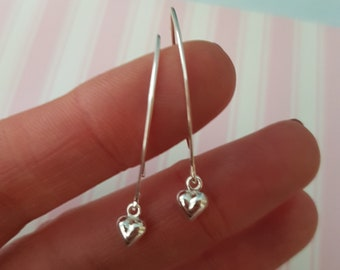 Sterling Silver tiny heart earrings on long Sterling Silver hooks or threaders minimalist silver jewelry gift for her