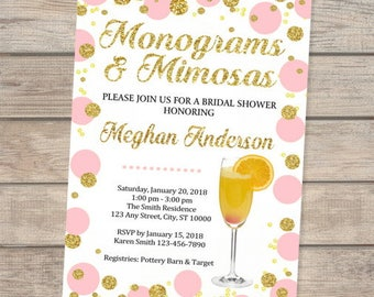 Monograms And Mimosas Bridal Shower Invitation, Pink And Gold, Mint And Gold, Blue And Gold, Orange And Gold , Glitter Dots Bridal Shower