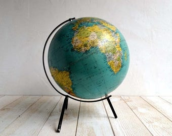 25% SALE Large Vintage French World Globe Map Mid Century Carte Taride Philips Challenge Globes 1960s