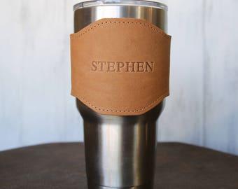 The Apollo  for 30 oz Yeti Personalized Leather Drink Cooler Sleeve for YETI Rambler Tumbler Tumblers - Yeti Wrap