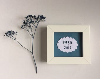 Born in 2017 (or other year) - Handmade miniature papercut - special offer