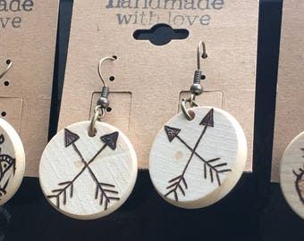 CROSSED ARROWS woodburned earrings