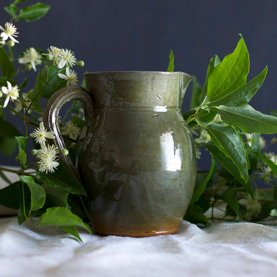 RESERVED for BRENDA - Hand-thrown Sage Green French Wine Pitcher