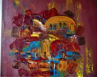 "Original Abstract Oil Painting by Nalan Laluk: ""Patchwork City"""