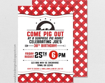 Pig Roast Birthday Party Invitation 1, Customized, Digital File