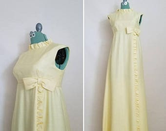ON SALE Vintage Yellow Gown with Bow - 1960's Dress with Ruffles and Bow - Formal Maxi Dress - Light Soft Yellow Sateen Gown - Size Small