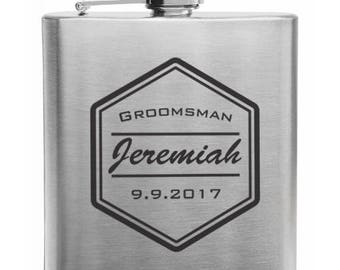 Groomsman flasks, Personalized flask Engraved 6oz. Stainless Steel Flask/Laser Marked, Wedding flasks, custom flasks, Engraved flasks