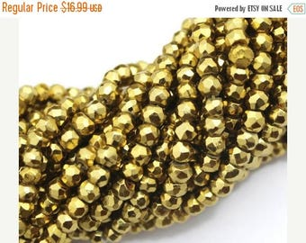 On SALE Gold Pyrite Beads Full Strand Rondelle Faceted 3-3.5 mm AAA Golden Finest Quality Natural stone 13 inches length  GQB