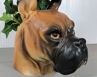 Vintage Ceramic Napco E1847 Boxer Dog Head Planter, Indoor Character Dog Head Planter, Unique Indoor Planter, Made in Japan