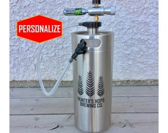 Personalized Mini Keg Beer Growler with tapping dispenser system, KEG, Custom design, growler, birthday, anniversary gift, Home Brew