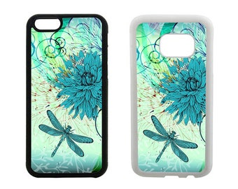 Dragonfly phone case, iPhone 6 6S 7 8 Plus, SE X 5S 5C 5 4 4S, Samsung Galaxy S8 Plus, S7 S6 Edge, S4 S5, floral rubber bumper cover. R59