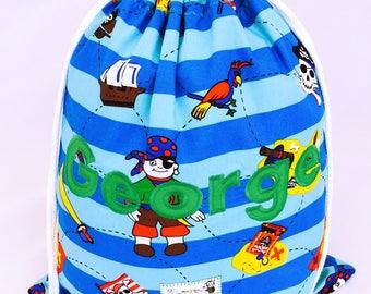 Pirates Personalised PE bag, Pirate Bag, Children's Swim Bag, School Bag, Nursery Bag, Drawstring bag, Blue Pirates, Children's named bag