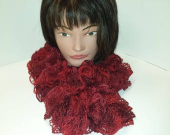 Beautiful knitted sashay thick ruffled sparkly scarf in Christmas  red color with glitter edge.