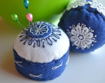 Needle felt mobile in Navy Blue and white