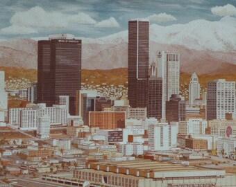 Vintage Stan Cline Print - Los Angeles Skyline Los Angeles 1978 - Los Angeles City Print