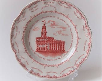 Nauvoo Temple Plate Red and White Illinois Mormon Temple