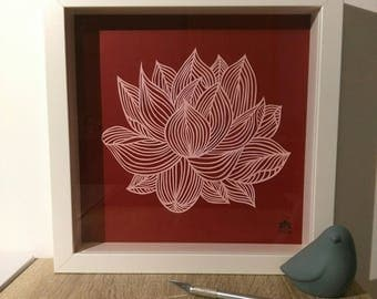 "Kirigami ""water lily flower"" window frame * hand cutting *."