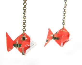 Origami earring fish
