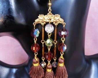"""Earrings tassel Collection """"Luxury Brown"""" N ° 2"""