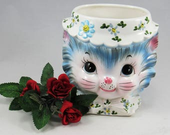 """LEFTON MISS PRISS  Kitten Cat  Head Vase # 3860.  The Head Vase is 5 1/2"""" Tall and was made in the 1960's.  Great Mid Century Kitchen Decor!"""