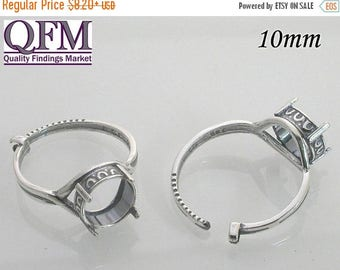 ON SALE 1 Pc/pk Adjustable locking Ring - Bezel Cup in Sterling Silver 925, Round Shaped Roman Style