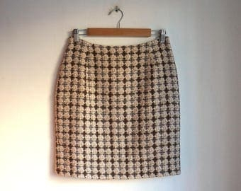 Beige, brown and cream checquered mini skirt, wool & polyester tweed, short pencil skirt, no waist band, small size, vintage fashion