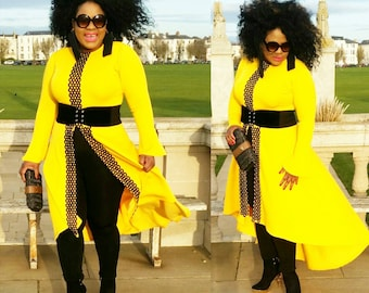 Yellow shirt dress with open front