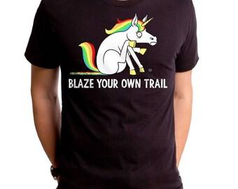 Blaze Your Own Trail (GT8101-501BLK) Men's T-Shirt, funny fart tee, blazing, rainbow blaze, farting, unicorn, funny unicorn tee, rainbow