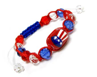 Hand Painted USA Flag on Lincoln Hat Glass Beads Pull-String Bracelet