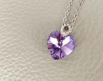 Crystal heart pendant, swarovski element, gift,bridesmaid gift, wedding gift,