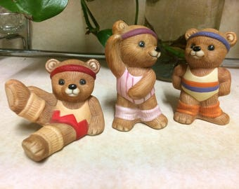 Three HOMCO ATHLETE'S Bears Figurines #1448