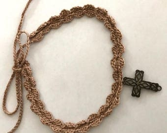 Cross Lace Choker - Religious Necklace with Bronze tone alloy Cross - Tan Color - Handmade Crochet -  Item N98