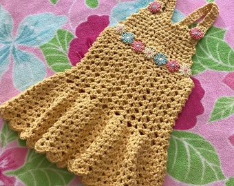 Crochet Baby Dress 9-12 months - Pineapple color with daisies - Handmade Crochet Item G1