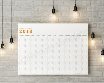Year Planner. Big Yearly Horizontal Wall Planner / Agenda / Annual Calendar for 2018 year - KP-W8