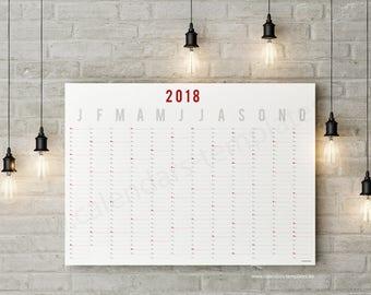 Year Planner 2018 Modern Landscape Year Wall Planner Template Calendar / Agenda / Annual in PDF - KP-W10