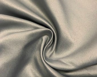 "Grey Matte Satin (Peau de Soie) Duchess Fabric Bridesmaid Dress 60"" Wide Sold BTY"