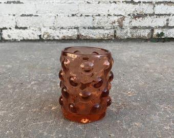 Vintage Mid Century Mauve Pink Wayne Husted for Blenko Bubble Wrap Glass Vase