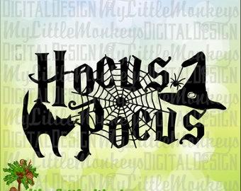 Halloween SVG, Hocus Pocus SVG, Black Cat, Spider Web, Witch Hat, Halloween Shirt, Commercial Use SVG, Clip Art, Cut File, eps, dxf, png