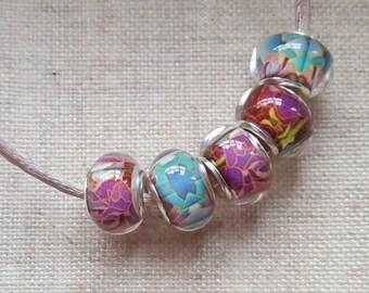 Lampwork Beads X 5 . Blue And Purple Beads. European Bracelet Style. UK Seller