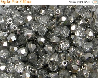 ON SALE Fire Polish, Crystal Silver, 6mm Round Bead, (27001), 25 count