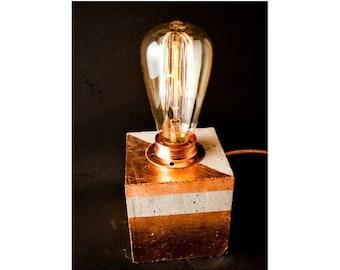 10% OFF Industrial concrete copper table lamp, industrial lighting, Desk lamp, Edison lamp, Concrete light, Table lamp, Cement, Concrete cub