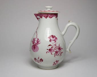 Antique Chinese 18th century export porcelain sparrow beak jug and cover