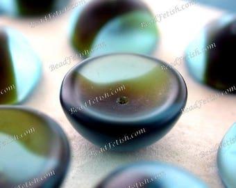 Vintage Beads, 14 x 7mm Vintage Aqua Blue Tortiose Glass Beads, Unique Vintage Half Round Cup Beads, Vintage Glass Bead Caps VB-059